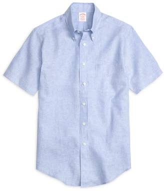 Brooks Brothers Madison Fit Linen Short-Sleeve Sport Shirt