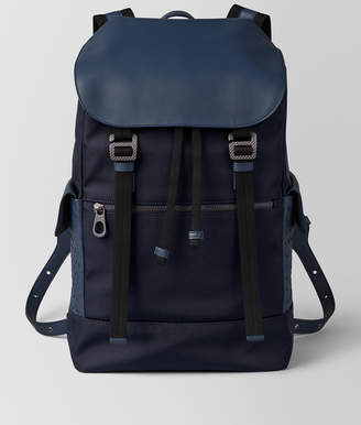 Bottega Veneta TOURMALINE/PACIFIC HI-TECH CANVAS SASSOLUNGO BACKPACK