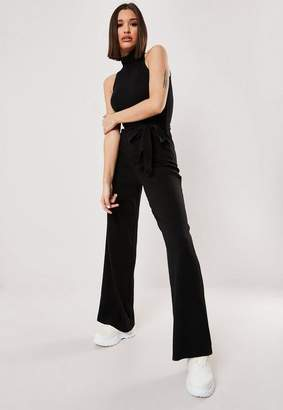 Missguided Tall Black Ribbed High Neck Wide Leg Jumpsuit, Black