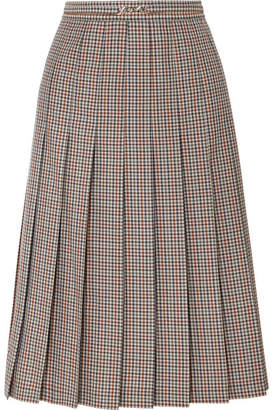 Maison Margiela Checked Pleated Wool, Mohair And Silk-blend Midi Skirt - Gray