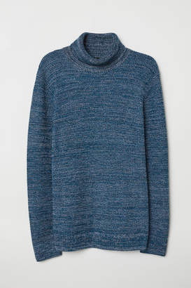 H&M Rib-knit Turtleneck Sweater - Blue