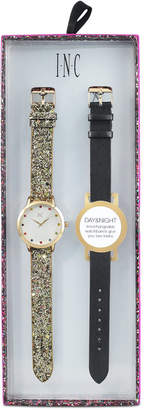 INC International Concepts I.N.C. Women's Gold-Tone Glitter Faux Leather Strap Watch 36mm with Interchangeable Strap, Created for Macy's