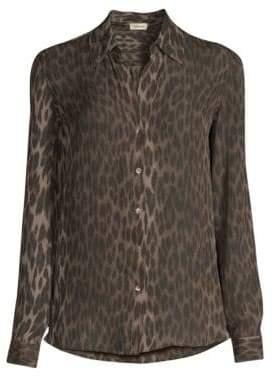 L'Agence Nina Leopard Print Long Sleeve Silk Blouse