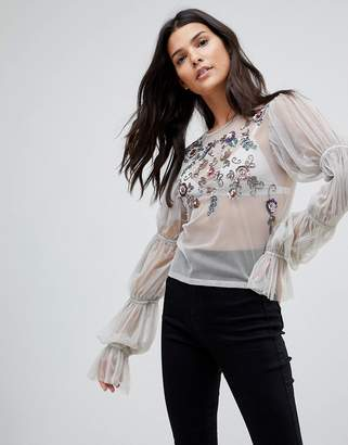 Asos Top In Mesh With Embellishment And Sleeve Gather Detail