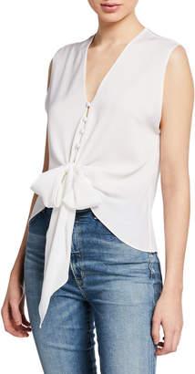 Milly Elizabeth V-Neck Sleeveless Tie-Hem Top