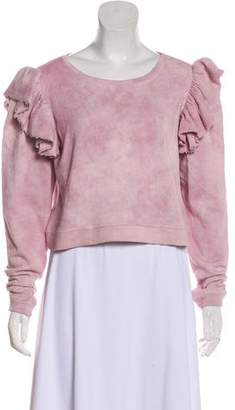 LoveShackFancy Cropped Ruffle Sweatshirt w/ Tags