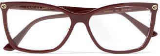 Gucci Square-frame Acetate Optical Glasses - Burgundy