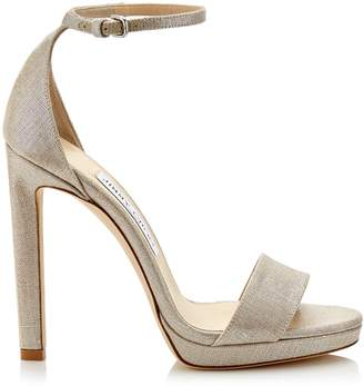 39f44aff730 Jimmy Choo MISTY 120 Natural and Silver Metallic Linen Platform Sandals