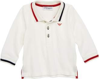 Armani Junior Cotton Pique Long Sleeve Polo