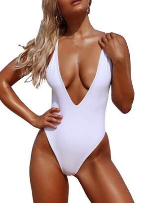 ddb5efd96a97a8 DaiLiWei Womens One Piece Bathing Suit V Neck Swimsuit Swimwear Sexy  Bodysuit Bikini High Cut Monokini