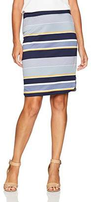 Max Studio Women's Printed Stripe Ponte Skirt with Side Slit