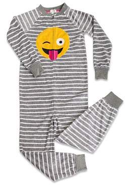 PJ Salvage Girls' Striped Emoji Pajamas - Big Kid
