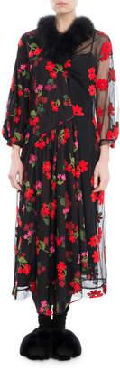 Simone Rocha Marabou-Trim Floral-Embroidered Dress