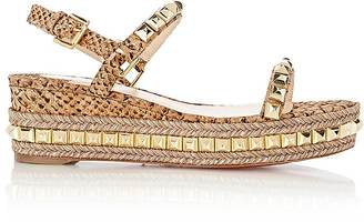 Christian Louboutin Women's Studded Cataclou Platform Espadrille Sandals $795 thestylecure.com