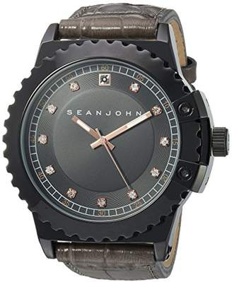 Sean John Men's Diamond Japanese-Quartz Watch with Leather-Synthetic Strap