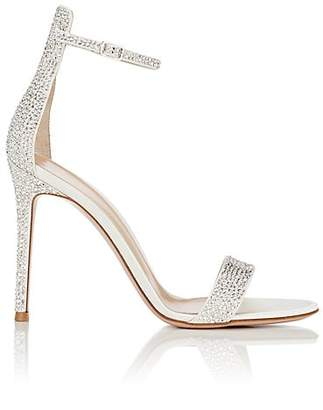 Gianvito Rossi Women's Crystal-Embellished Satin Sandals - White