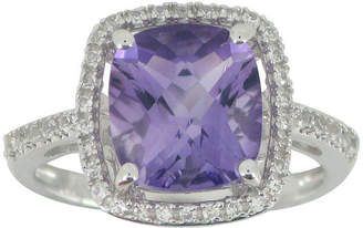 FINE JEWELRY Genuine Cushion-Cut Amethyst & Lab-Created White Sapphire Ring Sterling Silver