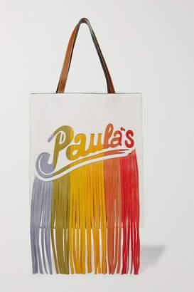 Loewe Paula's Ibiza Fringed Leather Shoulder Bag - White