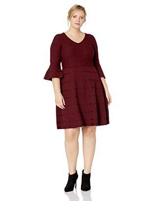 Gabby Skye Women's Size Plus Sizse 3/4 Bell Sleeve V-Neck Sweater Fit&Flare Dress