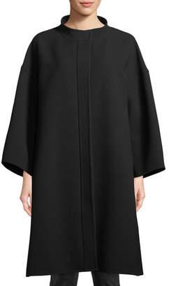 Courreges Funnel-Collar Button-Front Oversized Crepe Coat