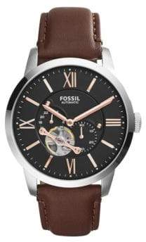 Fossil Automatic Multi Townsman Leather Strap Watch