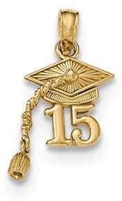 JewelryWeb 14k Gold Graduation Cap 15 With Dangling Tassle Pendant