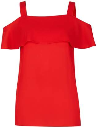 Dorothy Perkins Womens Red Cold Shoulder Top