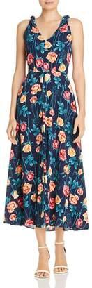 Betsey Johnson Floral Print Shoulder-Tie Midi Dress