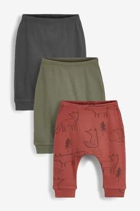 Next Boys Rust 3 Pack Fox Print Leggings (0mths-2yrs) - Brown
