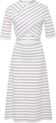 Rosetta Getty Cutout Striped Stretch-Jersey Midi Dress