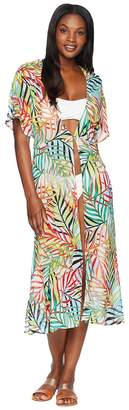 Kenneth Cole Exotic Palm Tie Front Slit Dress Cover-Up Women's Swimwear