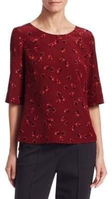 Akris Punto Floral Print Silk Top