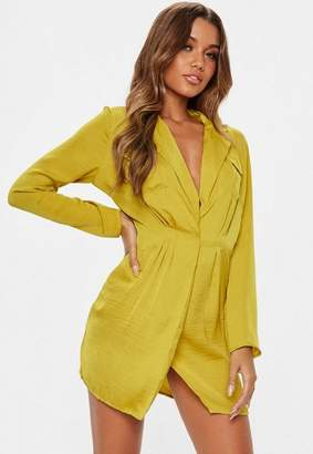 Missguided Chartreuse Satin Pocket Detail Collar Shift Dress