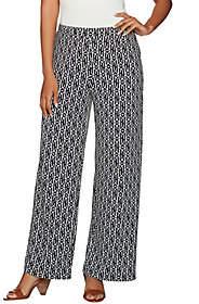 Susan Graver Petite Printed Liquid Knit Pull-OnWide Leg Pants