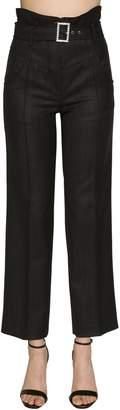High Waisted Pinstripe Wool Pants