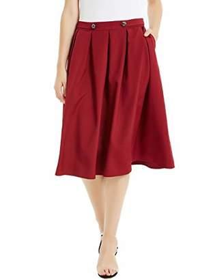 Basic Model Pleated Midi Skirts for Women Vintage High Waist A Line Skater Skirt