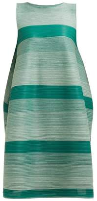 Pleats Please Issey Miyake Log Faded Stripe Pleated Dress - Womens - Green