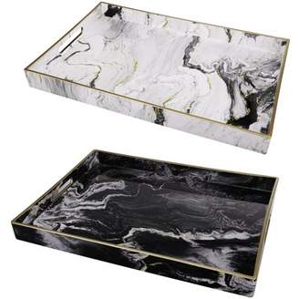 A&B Home Marble Motif Serving Trays, Set of 2