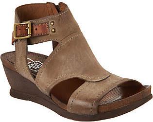 Miz Mooz Leather Side Zip Wedge Sandals -Scout