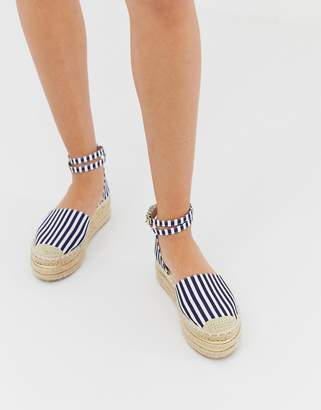 PrettyLittleThing espadrille flatform with ankle strap in blue stripe