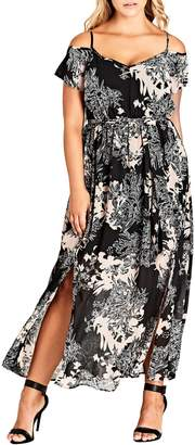City Chic Floral Shadow Cold Shoulder Maxi Dress