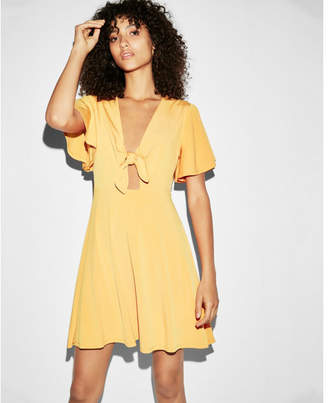 Express tie front fit and flare dress