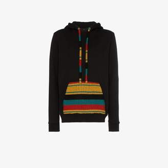 knitted patch pocket hoodie
