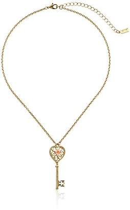 1928 Jewelry Porcelain Rose Collection Gold Tone Pink Porcelain Rose Key Pendant Necklace