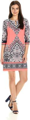 Sandra Darren Women's 1 Pc 3/4 Sleeve Printed Ity Shift Dress, Coral/Navy