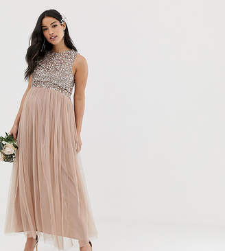Maya Maternity Bridesmaid sleeveless midaxi tulle dress with tonal delicate sequin overlay in taupe blush