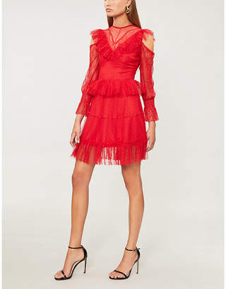 Forever Unique Red lace cold shoulder mini dress