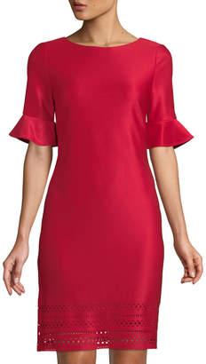 Donna Ricco Laser-Cut Bell-Sleeve Sheath Dress