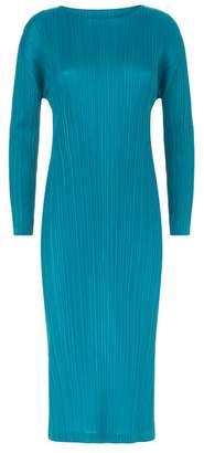 Pleats Please Long Sleeve Midi Dress