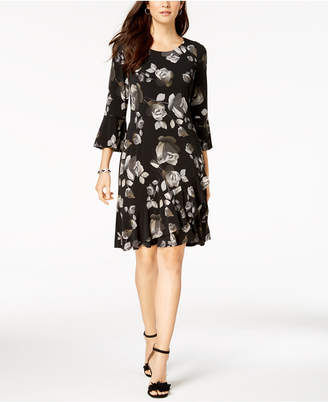 Connected Bell-Sleeve A-Line Dress